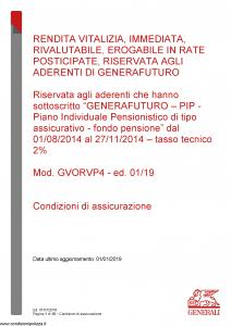 Generali - Rendita Vitalizia Immediata Rivalutabile Erogabile In Rate - Modello gvorvp4 Edizione 01-01-2019 [10P]