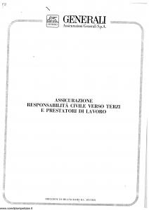 Generali - Responsabilita' Civile Verso Terzi E Prestatori Di Lavoro - Modello r30 Edizione 02-1982 [SCAN] [7P]
