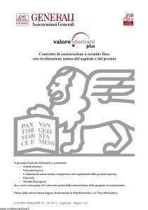 Generali - Valore Domani Plus - Modello gvdp Edizione 03-09-2012 [46P]