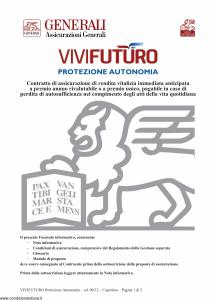 Generali - Vivi Futuro Protezione Autonomia - Modello gvpavf Edizione 03-09-2012 [48P]