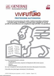 Generali - Vivi Futuro Protezione Autonomia - Modello gvpavf Edizione 31-05-2011 [28P]