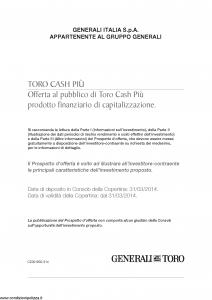 Generali Toro - Toro Cash Piu' - Modello cz001902.314 Edizione nd [36P]