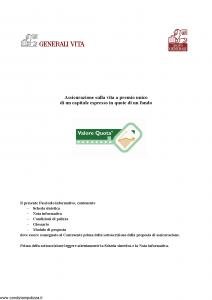 Generali Vita - Valore Quota - Modello gvun3 Edizione 01-12-2005 [72P]