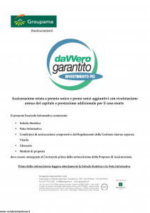 Groupama - Davvero Garantito Investimento Piu' - Modello 150525 Edizione 11-2009 [36P]