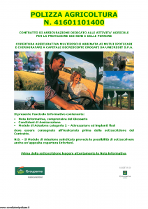 Groupama - Polizza Agricoltura 41601101400 Attrezzature E Impianti Fissi - Modello 150148I Edizione 05-2013 [40P]
