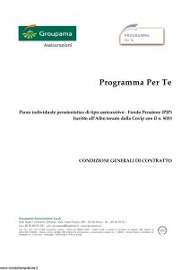 Groupama - Programma Per Te - Modello 220267-b Edizione 06-2016 [25P]