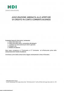 Hdi - Assicurazione Credito In Conto Corrente Business - Modello ficcb_052014 Edizione 26-05-2014 [36P]