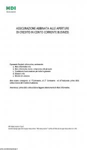 Hdi - Assicurazione Credito In Conto Corrente Business - Modello ficcb_052015 Edizione 20-05-2015 [34P]