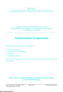 Ina Assitalia - Assicurazioni Temporanee Contratto Di Assicurazione Sulla Vita - Modello midv114-02 Edizione 04-2006 [46P]