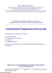 Ina Assitalia - Assicurazioni Temporanee Decrescenti Contratto Di Assicurazione Sulla Vita - Modello midv115-05 Edizione 03-2009 [34P]