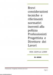 Ina Assitalia - Brevi Considerazioni Tecniche Polizza Professionisti - Modello 16370 Edizione 01-2009 [30P]