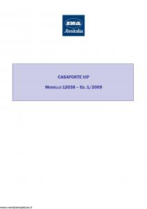Ina Assitalia - Casaforte Vip - Modello 12038 Edizione 01-2009 [21P]