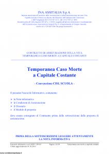 Ina Assitalia - Temporanea Caso Morte A Capitale Costante - Modello midv139-03 Edizione 31-03-2010 [34P]