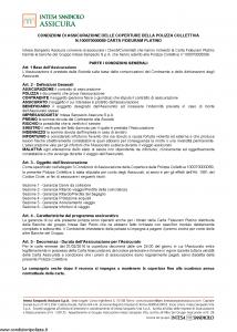 Intesa Sanpaolo Assicura - Condizioni Assicurazione Carta Fideuram Platino 100070000089 - Modello nd Edizione 01-02-2016 [19P]
