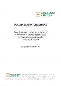 Intesa Sanpaolo Assicura - Polizza Lavoratori Atipici - Modello nd Edizione 12-2018 [12P]