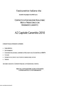 L Assicuratrice Italiana Vita - Az Capitale Garantito 2010 - Modello aiv7510 Edizione 15-04-2010 [32P]