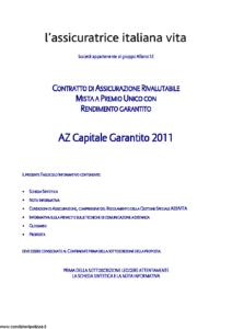 L Assicuratrice Italiana Vita - Az Capitale Garantito 2011 - Modello aiv7521 Edizione 31-12-2011 [32P]