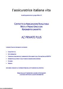 L Assicuratrice Italiana Vita - Az Private Plus - Modello aiv7514 Edizione 09-06-2011 [31P]