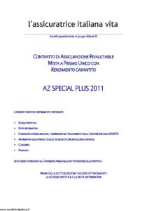 L Assicuratrice Italiana Vita - Az Special Plus 2011 - Modello nd Edizione 26-08-2011 [31P]
