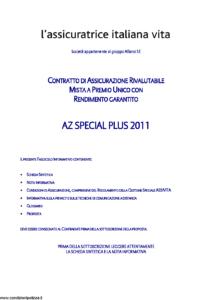 L Assicuratrice Italiana Vita - Az Special Plus 2011 - Modello nd Edizione 31-12-2011 [31P]
