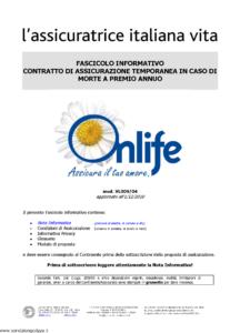 L Assicuratrice Italiana Vita - Onlife Assicura Il Tuo Amore - Modello vl009-04 Edizione 01-12-2010 [8P]