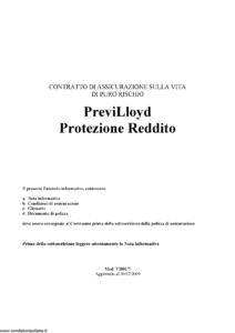 Lloyd Adriatico - Previlloyd Protezione Reddito - Modello vi001-7 Edizione 30-07-2009 [20P]