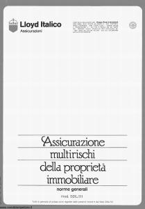 Lloyd Italico - Assicurazione Multirischi Della Proprieta' Immobiliare - Modello s01l-111 Edizione 05-1990 [12P]