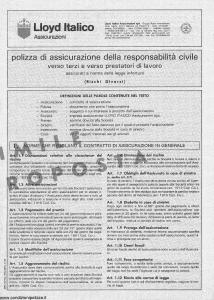 Lloyd Italico - Polizza Assicurazione Responsabilita' Civile - Modello s06l-007 Edizione 01-1990 [8P]