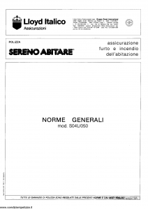 Lloyd Italico - Sereno Abitare Assicurazione Furto Incendio Abitazione - Modello s04l-050 Edizione 11-1990 [SCAN] [8P]