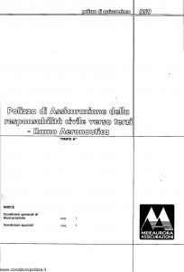 Meie Aurora - Polizza Assicurazione Responsabilita' Civile Verso Terzi Ramo Aeronautica - Modello u0559a Edizione 10-2001 [SCAN] [10P]