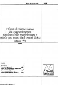 Meie Aurora - Polizza Assicurazione Trasporti Terresti Stipulata Dallo Spedizioniere - Modello u0569a Edizione 06-2001 [SCAN] [14P]