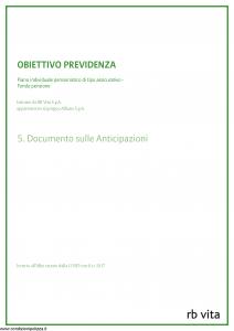 Rb Vita - Obiettivo Previdenza Documento Sulle Anticipazioni - Modello 8001 Edizione 03-2012 [6P]