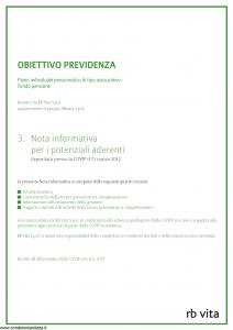 Rb Vita - Obiettivo Previdenza Nota Informativa Potenziali Aderenti - Modello 8001 Edizione 03-2012 [48P]