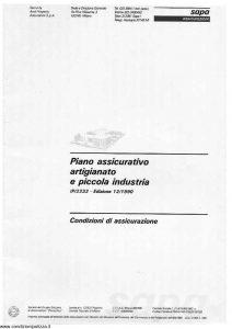 Sapa - Piano Assicurativo Artigianato E Piccola Industria - Modello p-2232 Edizione 12-1990 [43P]