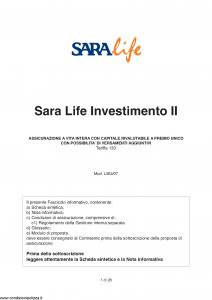 Sara - Sara Life Investimento Ii - Modello l362-07 Edizione 03-2007 [28P]