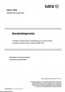 Sara - Sara Tutela Pronta (Tariffa 236) - Modello v392-cda Edizione 01-01-2019 [18P]