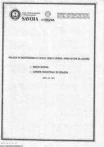 Savoia - Polizza Responsabilita' Civile Terzi E Prestatori Di Lavoro - Modello ap057 Edizione nd [SCAN] [6P]