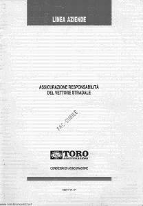Toro - Linea Aziende Responsabilita' Del Vettore Stradale - Modello cb081154.794 Edizione 09-06-1994 [SCAN] [31P]