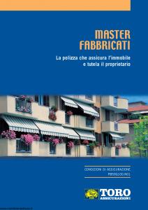 Toro - Master Fabbricati Polizza Che Assicura L'Immobile E Tutela Il Proprietario - Modello pb59g100.n01 Edizione 11-2001 [26P]