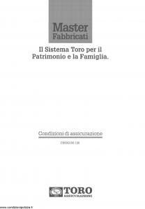 Toro - Master Fabbricati Sistema Toro Per Il Patrimonio E La Famiglia - Modello pb59g100.198 Edizione 01-12-1997 [28P]