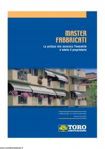 Toro - Master Fabbricati Sistema Toro Per Il Patrimonio E La Famiglia - Modello pb59g100.n01 Edizione 11-2001 [27P]