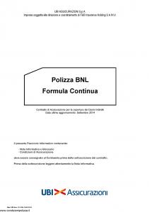 Ubi - Polizza Bnl Formula Continua - Modello 1515 Edizione 30-09-2014 [24P]
