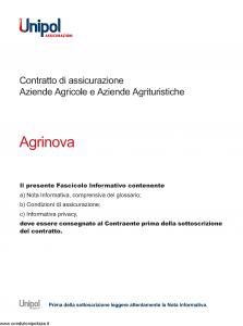 Unipol - Agrinova Assicurazione Aziende Agricole E Aziende Turistiche - Modello 3022 Edizione 07-2011 [54P]