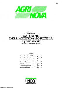 Unipol - Agrinova Polizza Incendio Dell'Azienda Agricola - Modello 3018 Edizione 12-2005 [15P]
