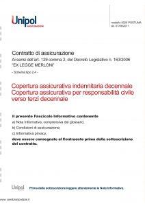 Unipol - Copertura Assicurativa Indenitaria Decennale - Modello 5025 Edizione 08-2011 [20P]