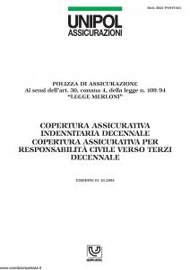 Unipol - Copertura Assicurativa Indennita' Decennale - Modello 5028 postuma Edizione 01-10-2004 [8P]