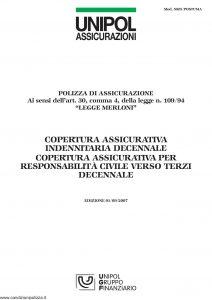 Unipol - Copertura Assicurativa Indennitaria Decennale - Modello 5025-postuma Edizione 09-2007 [12P]