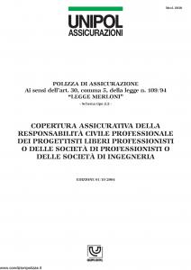 Unipol - Copertura Assicurativa Responsabilita' Civile Professionale - Modello 2030 Edizione 01-10-2004 [4P]