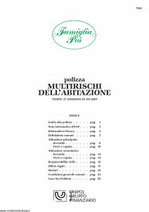 Unipol - Famiglia Piu' Multirischi Dell'Abitazione - Modello 7023 Edizione 01-09-2007 [28P]