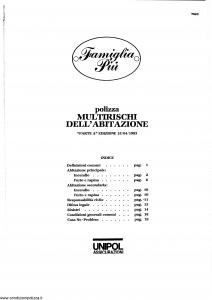 Unipol - Famiglia Piu' Multirischi Dell'Abitazione - Modello 7023 Edizione 15-04-1993 [SCAN] [19P]